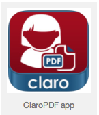 picture of ClaroPDF app in 3 colors cartoon girl with a piece of paper and the letters PDF and word claro underneath
