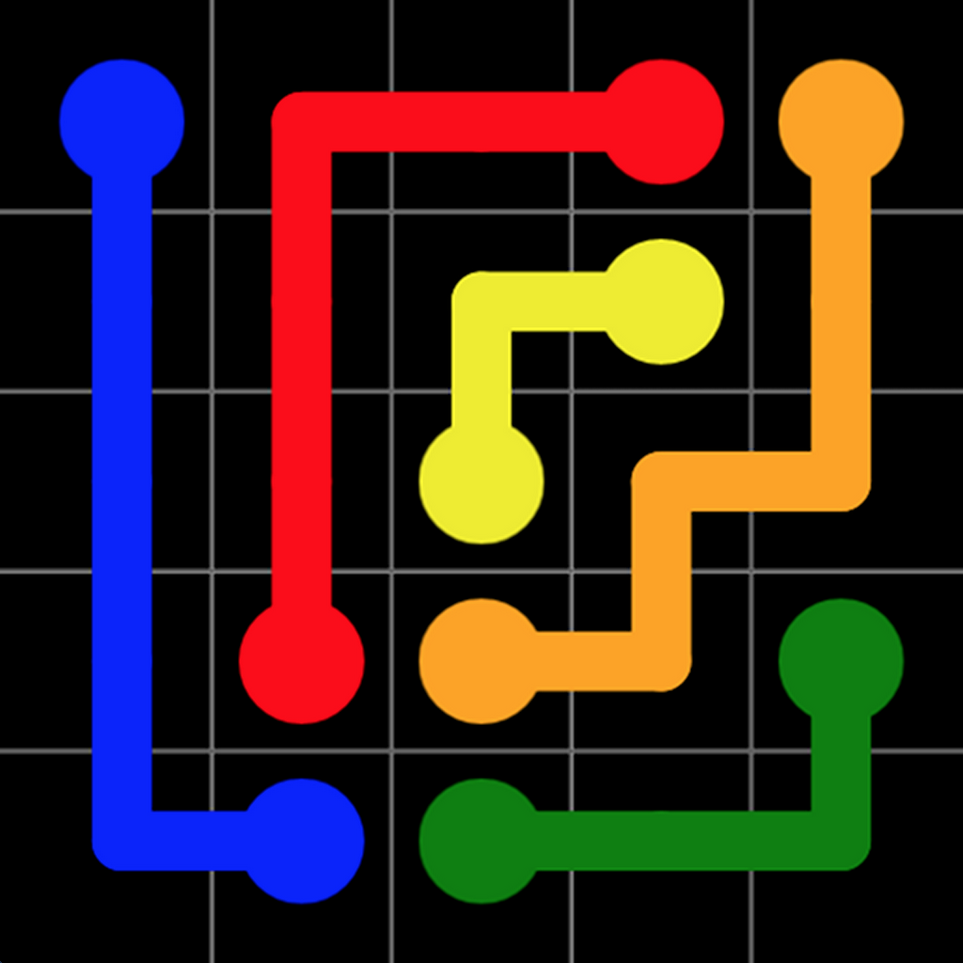 Flow App Icon with colored lines connecting dots of the same color.