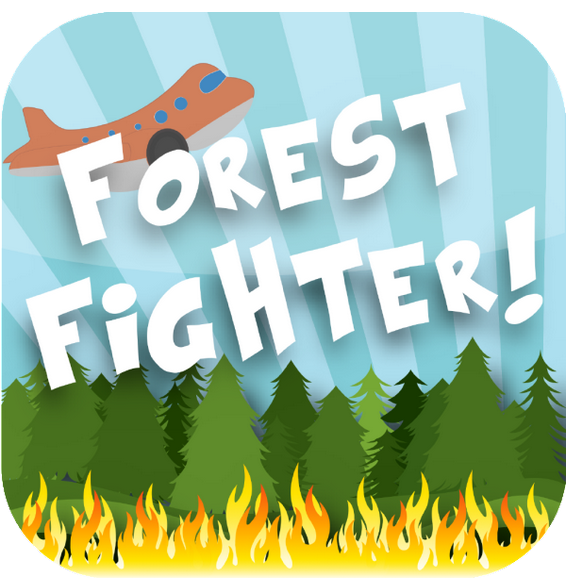 Forest Fighter! App graphic with a cartoon plane flying over a forest fire