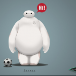 Disney's Baymax, all white, fat, with long arms, short stubby legs and a small round head standing beside a soccer ball.