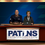 Jeff Bond and Glenda Thompson on the set of PATINS TV discussing the upcoming Tech Expo