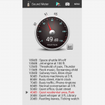 Sound Meter Android app - decibel reading of current noise level with listing below of common decibel levels.