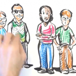 screenshot from Transition video.  Shows a hand drawing the characters from the clip
