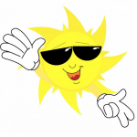 Cartoon Sunshine wearing sunglasses and gloves on his hands.