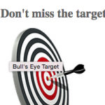 Don't miss the target. Target with dart in the bullseye.  PATINS Project AEMing for Success Grant Logo